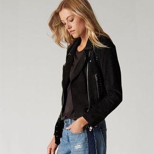 BlankNYC Studded Suede Moto Jacket in Black